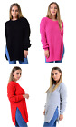 Womens Long Sleeve Round Neck Knitted Double Slit Baggy Jumper Sweater Top 8-14