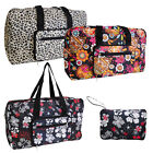 FOLDING TRAVEL BAG weekend holdall luggage sport floral beach holiday shopping