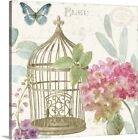 Premium Thick-Wrap Canvas Wall Art entitled Rainbow Seeds Floral Birdcage II v2