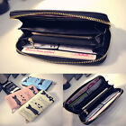 Cat Cartoon Wallet Long Casual Zip Ladies Clutch PU Leather Coin Purse IDHolderF