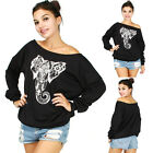 Women's Elephant Off Shoulder Oversized Slouchy Sweatshirt Sweater Tops Blouse