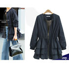Womens Long Sleeve Slim Fit Suit Coat Ruffle Peplum Frill Blazer Jacket Outwear