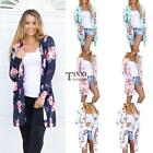 Women Front Open Stitch Long Sleeve Printed Floral Loose Cardigan Coat TXSU
