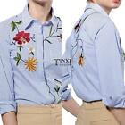 Women Casual Turn-down Collar 3/4 Sleeve Embroidery Striped Irregular TXSU