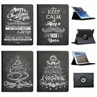 Black Vintage Typography Christmas Folio Cover Leather Case For Apple iPad