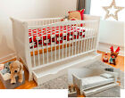 Baby Dropside Cot Bed White Junior Toddler Bed with Deluxe Sprung/Foam Mattress