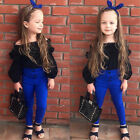 2PCS Baby Toddler Kids Girls Lace  T-shirt Tops + Denim Pants Jeans Clothes Set