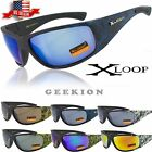 X-Loop Mens Motorcycle Riding Wind Resistance Mirror Sports Wrap Sunglasses