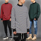 Avant Garde Men's Fashion Ribbed High Neck Striped Long Tee, GENTLERSHOP