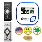 Blue GolfBuddy Voice2 Golf GPS/Rangefinder + Titleist PRO V1 or V1X+Ball Marker
