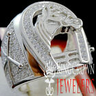 Mens Real White Gold On Silver Horseshoe Lucky Ring Simu Diamond Good luck Band