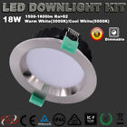 18W DIMMABLE LED DOWNLIGHT KITS  APPROVED IP44 IC-F SATIN CHROME WARM/COOL WHITE