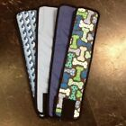 4pk Male Dog Diaper BLUE BONES, WAVES, BLUE PLAID, WHITE Belly Band Sz XS-XL