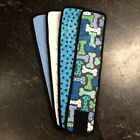 4pk Male Dog Diaper BLUE BONES, PAWS, BLUE, WHITE Belly Band Sz XS-XL
