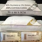Luxury GOOSE / DUCK FEATHER & Down Filling BOX Pillow 100% Cotton Cover Pillows