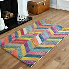 MODERN BEST QUALITY SOFT RUG MULTI COLOUR WAVE LARGE RED 120x170cm RUG FOR SALE