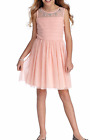 New Sequin Hearts Girls Dress Pink Illusion Jewels Neck Party Size 10 12 14 16