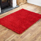 RED SHAGGY RUG EXTRA LARGE 200x300cm HIGH QUALITY FEATHER 4CM THICK MODERN RUG