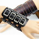 Men's Leather Bracer Punk Buckled Wristband Arm Armor Cosplay Bracelet Costume