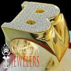 Mens Big Bold 10K Yellow Gold On Real Silver Initial Letter B Simu Diamond Ring