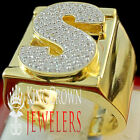 Mens Big Bold 10K Yellow Gold On Real Silver Initial Letter S Simu Diamond Ring