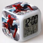 New Spiderman Alarm Clock Spider man 7-Color Changing Alarm Clock in Box Gift