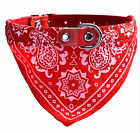NEW Dog Collar with triangle bandana-light and leather-3 sizes & 3 colors_M,L,XL