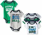 PUMA (ULC) Childrens Apparel Baby Boys 5 Pack Bodysuit 0/3- Pick SZ/Color.