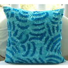 "Ribbon Waves Blue Art Silk 16""x16"" Pillow Covers - Aqua Ripples"