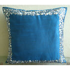 "3D Metallic Sequins Blue Art Silk 16""x16"" Pillow Cover - Royal Blue & Silver"