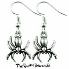 TFB - SILVER SPIDER DANGLE EARRINGS HALLOWEEN SCARY FRIGHT CREEPY NOVELTY GIFT