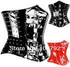 Fetish black OR red PVC studded underbust corset buckle front