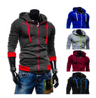 Stylish Mens Contrast Slim Fit Long Sleeve Lightweight Zip-up Hoodie Jacket Top