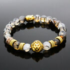 8MM Owl Buddha Beaded Natural Lava Stone Gold Silver Charm Fashion Men Bracelets