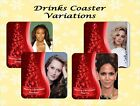 HOLLYWOOD HEART-THROBS ACTRESS CHRISTMAS COASTER PERSONALISED FREE OF CHARGE