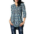 US Women Loose Long Sleeve Cotton Casual Blouse Shirt Tunic Tops Fashion Blouse