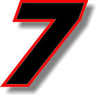 Black 5 inch race numbers with Red border number vinyl sticker graphic decal