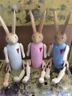 Wooden Bunny Rabbit Childs Toy Ornament Cute Puppet Gift Handmade BLUE PINK GREY