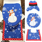 Happy Snowman Toilet Seat Cover Rug Bathroom Set Christmas Home Decoration 1 Set