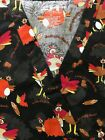 Thanksgiving Printed Medical Nursing Scrub Top Size XL 2XL & 3XL ITEM RUNS SMALL