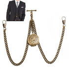 Brand New Bronze Colour Double Albert Pocket Watch Fob Chain With Locket  image