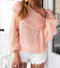 Womens Sexy Big Lapel Off Shoulder Knitted Pullover Sweaters Loose Blouses A544