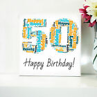 50TH BIRTHDAY CANVAS. WORD ART FRAMED PRINT - PERSONALISED GIFT - ANY NUMBER