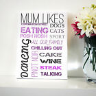 MUM LIKES TYPOGRAPHY CANVAS PERSONALISED WORD ART GIFT CHANGE WORDS COLOUR FONT