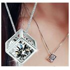 Heart Women's 925 Sterling Silver Chain Crystal Rhinestone Pendant Necklace Gift