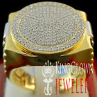MENS BIG BOLD XL REAL YELLOW GOLD STERLING SILVER LAB DIAMOND DESIGNER RING BAND