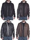 Levis Men's $199.50 Faux Leather with Fleece Hoodie Jacket Choose Size & Color