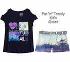 NWT Justice Girls Size 6 Cold Shoulder Tee Shirt Top & Soft Shorts 2-PC OUTFIT