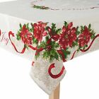 St Nicholas Square Festive Ivory Poinsettia Border Fabric Christmas Tablecloth