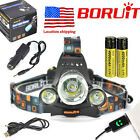 BORUIT13000lm Headlamp 3XM-L T6 2R5 LED USB Headlight Rechargeable18650 Battery